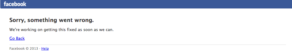 Facebook error message